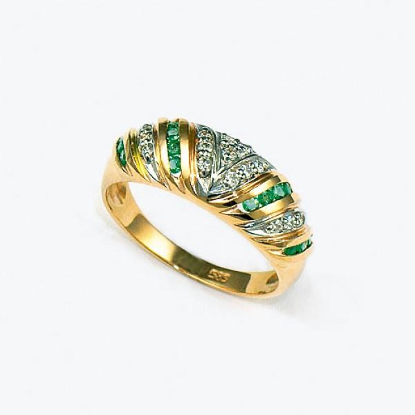 Ювелирное кольцо из красного золота 585 пробы с изумрудами и бриллиантами RE-61