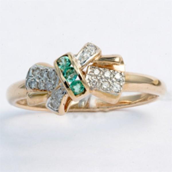 Ювелирное кольцо из красного золота 585 пробы с изумрудами и бриллиантами RE-2278