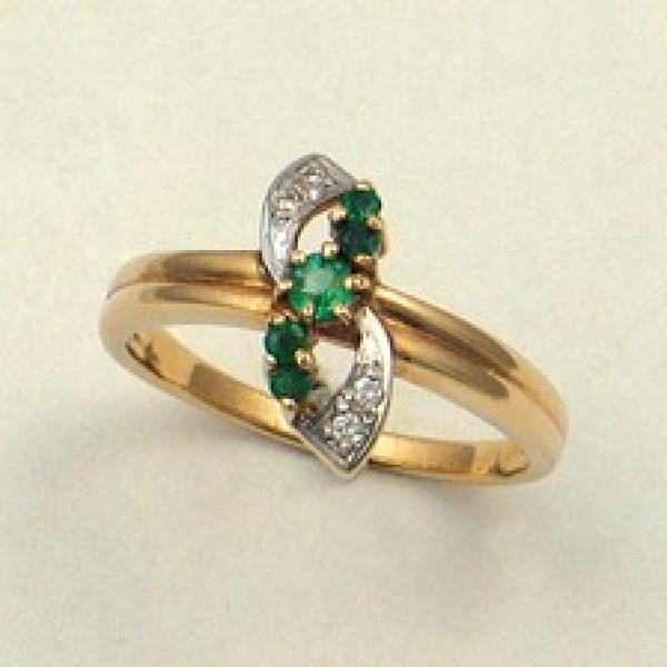 Ювелирное кольцо из красного золота 585 пробы с изумрудами и бриллиантами RE-3319