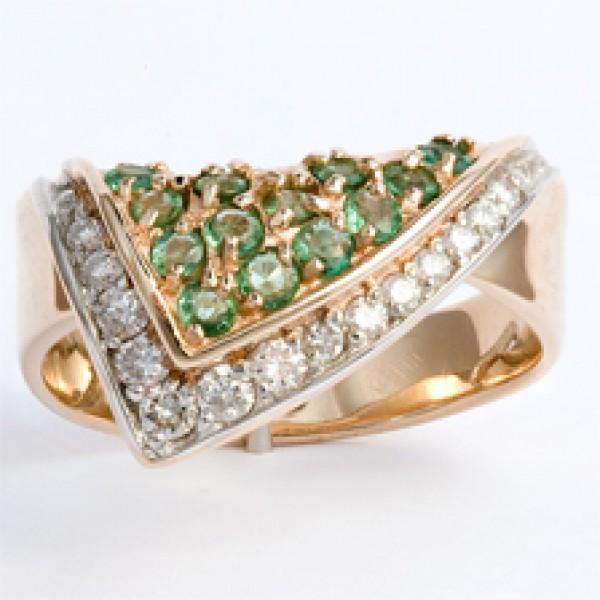 Ювелирное кольцо из красного золота 585 пробы с изумрудами и бриллиантами RE-6005