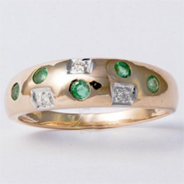 Ювелирное кольцо из красного золота 585 пробы с изумрудами и бриллиантами RE-6048