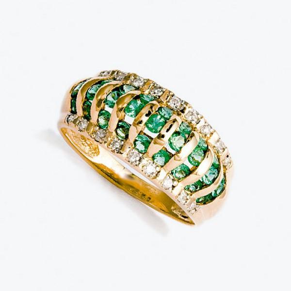 Ювелирное кольцо из красного золота 585 пробы с изумрудами и бриллиантами RE-6115