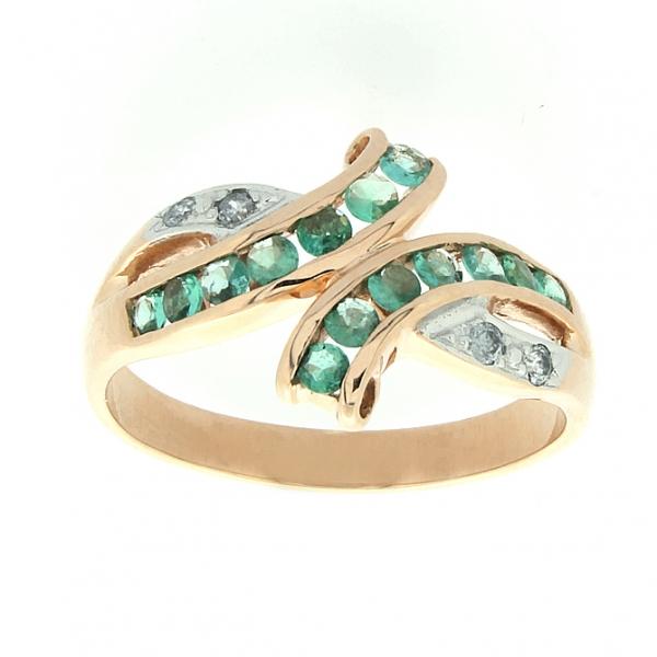 Ювелирное кольцо из красного золота 585 пробы с изумрудами и бриллиантами RE-6116