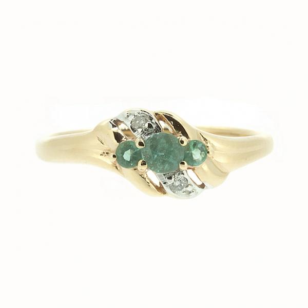 Ювелирное кольцо из красного золота 585 пробы с изумрудами и бриллиантами RE-6129