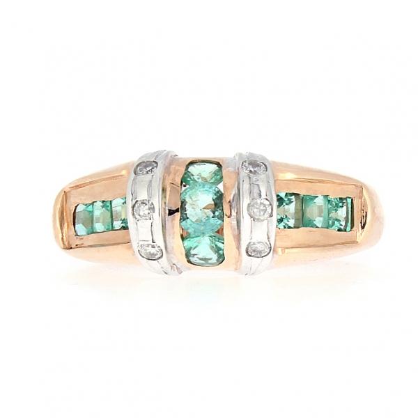 Ювелирное кольцо из красного золота 585 пробы с изумрудами и бриллиантами RE-6195