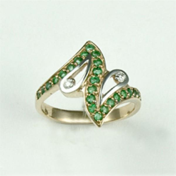 Ювелирное кольцо из красного золота 585 пробы с изумрудами и бриллиантами RE-6452