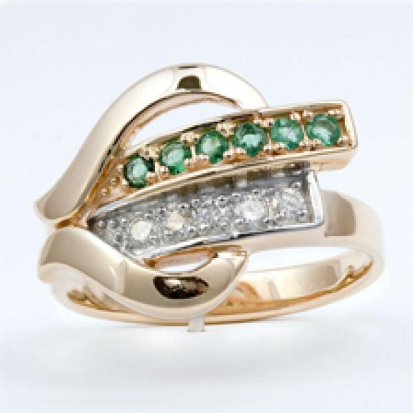 Ювелирное кольцо из красного золота 585 пробы с изумрудами и бриллиантами RE-6456