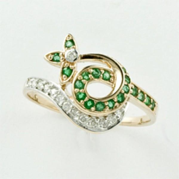 Ювелирное кольцо из красного золота 585 пробы с изумрудами и бриллиантами RE-6459