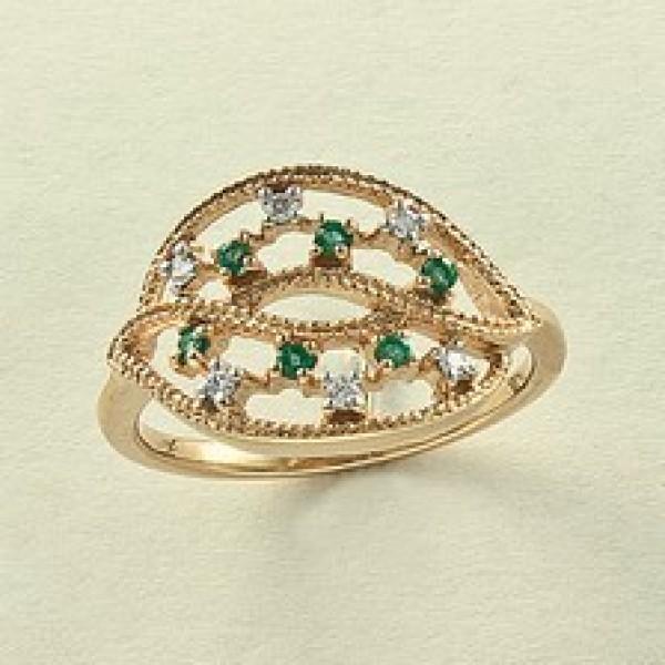 Ювелирное кольцо из красного золота 585 пробы с изумрудами и бриллиантами RE-6544