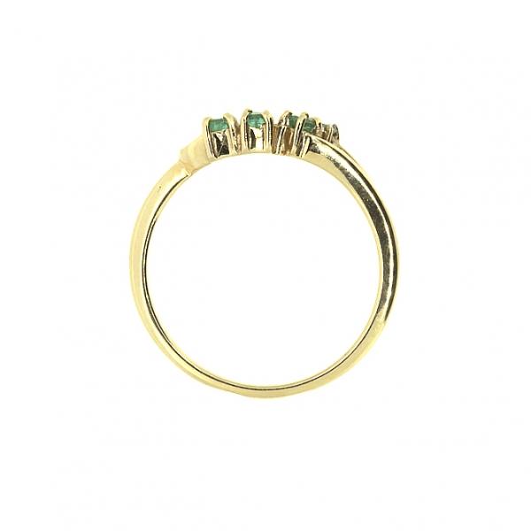 Ювелирное кольцо из красного золота 585 пробы с изумрудами и бриллиантом RE-7163