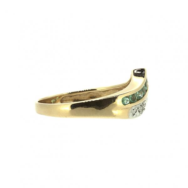 Ювелирное кольцо из красного золота 585 пробы с изумрудами и бриллиантами RE-13341