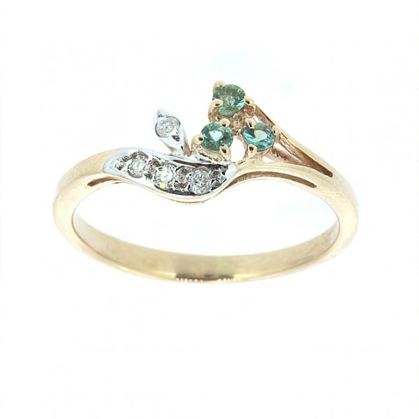 Ювелирное кольцо из красного золота 585 пробы с изумрудами и бриллиантами RE-15753