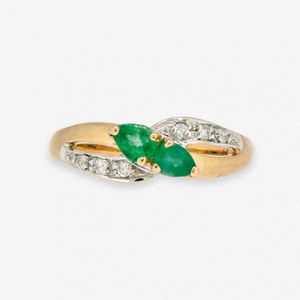 Ювелирное кольцо из красного золота 585 пробы с изумрудами и бриллиантами RE-9007