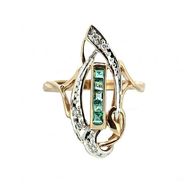 Ювелирное кольцо из красного золота 585 пробы с изумрудами и бриллиантами RE-6139