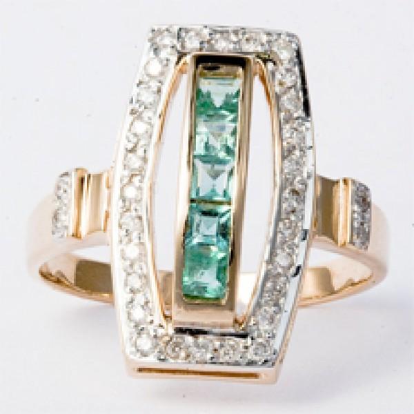 Ювелирное кольцо из красного золота 585 пробы с изумрудами и бриллиантами RE-6160