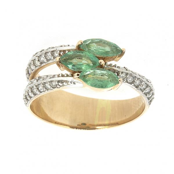 Ювелирное кольцо из красного золота 585 пробы с изумрудами и бриллиантами RE-6547