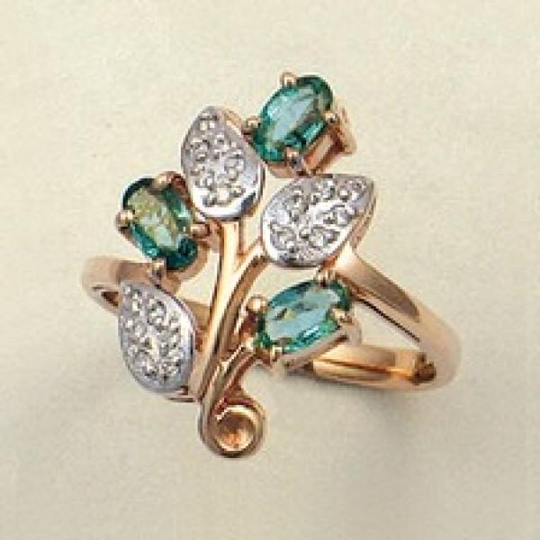 Ювелирное кольцо из красного золота 585 пробы с изумрудами и бриллиантами RE-6152