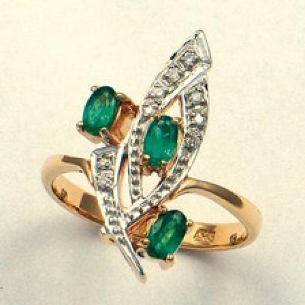 Ювелирное кольцо из красного золота 585 пробы с изумрудами и бриллиантами RE-6157