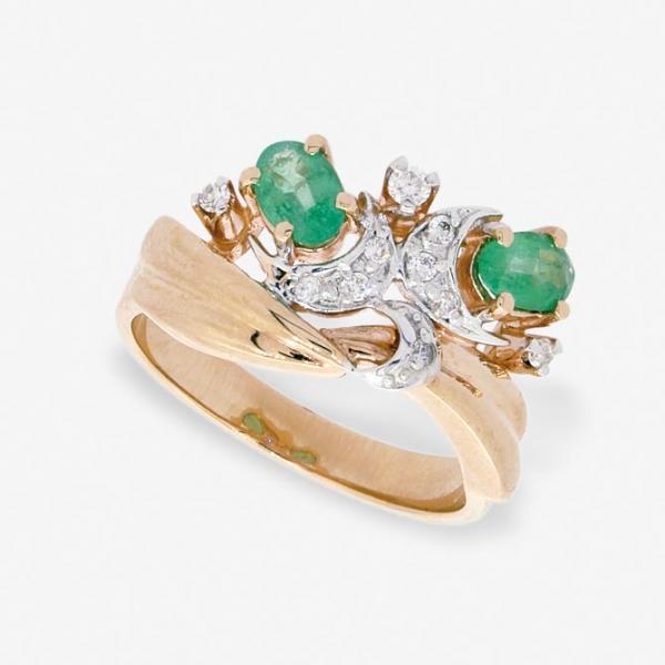 Ювелирное кольцо из красного золота 585 пробы с изумрудами и бриллиантами RE-6226