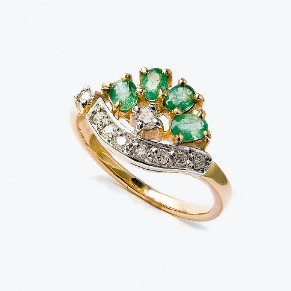 Ювелирное кольцо из красного золота 585 пробы с изумрудами и бриллиантами RE-6403