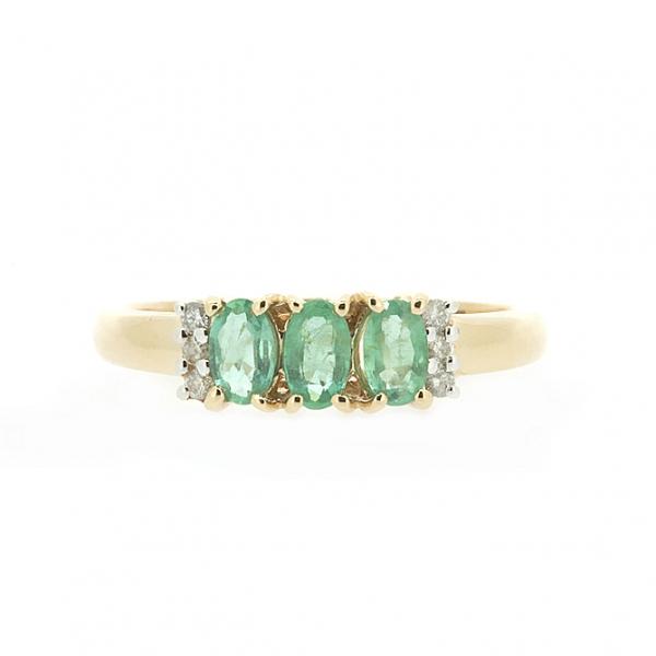 Ювелирное кольцо из красного золота 585 пробы с изумрудами и бриллиантами RE-10353