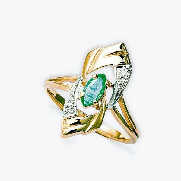 Ювелирное кольцо из красного золота 585 пробы с изумрудом и бриллиантами RE-6178