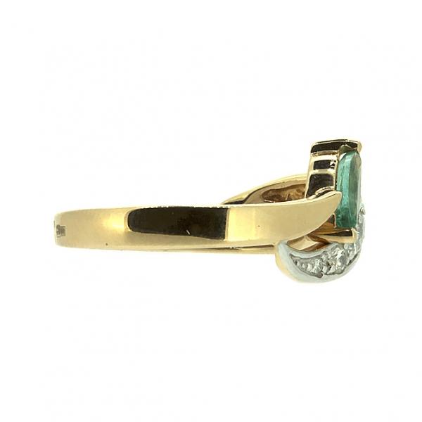 Ювелирное кольцо из красного золота 585 пробы с изумрудом и бриллиантами RE-6520