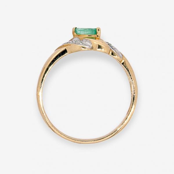 Ювелирное кольцо из красного золота 585 пробы с изумрудом и бриллиантами RE-9006