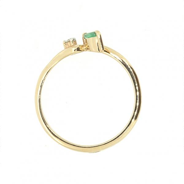 Ювелирное кольцо из красного золота 585 пробы с изумрудом и бриллиантом RE-15809