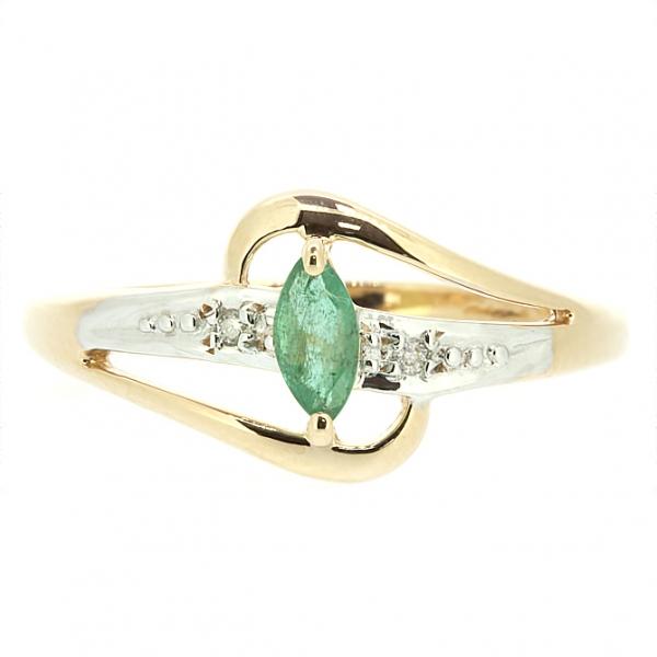 Ювелирное кольцо из красного золота 585 пробы с изумрудом и бриллиантами RE-15904