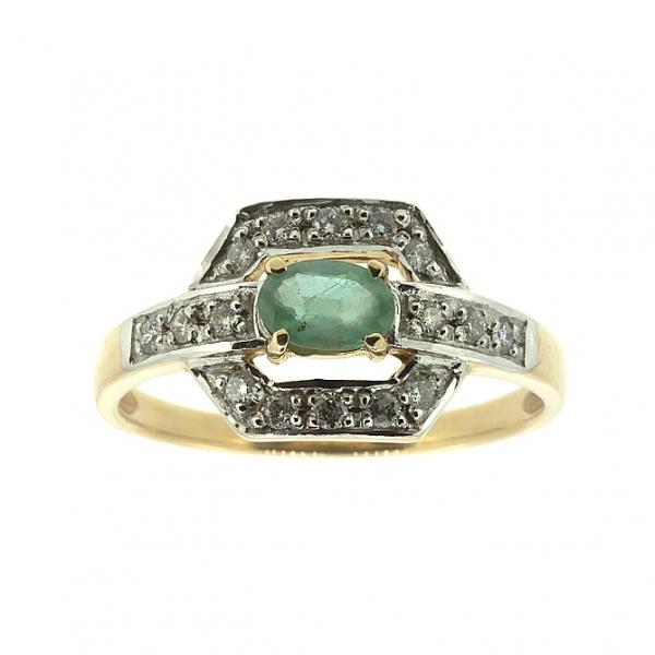 Ювелирное кольцо из красного золота 585 пробы с изумрудом и бриллиантами RE-588