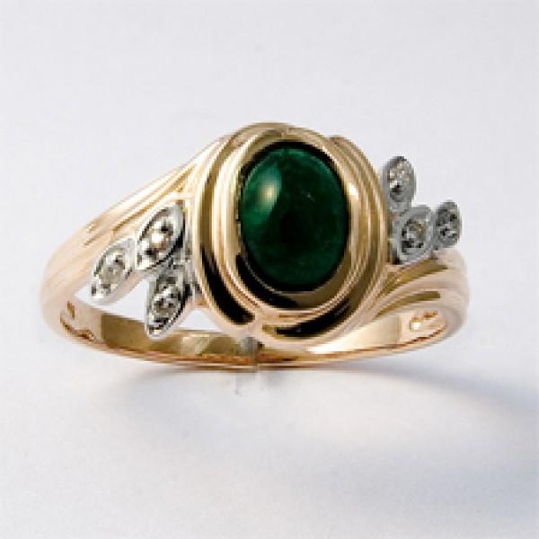 Ювелирное кольцо из красного золота 585 пробы с изумрудом и бриллиантами RE-622