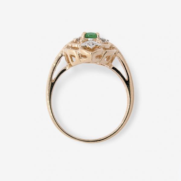 Ювелирное кольцо из красного золота 585 пробы с изумрудом и бриллиантами RE-1099
