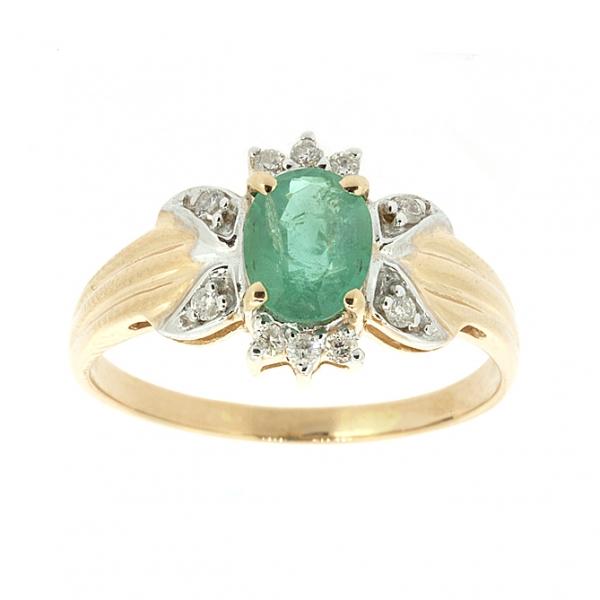 Ювелирное кольцо из красного золота 585 пробы с изумрудом и бриллиантами RE-1101
