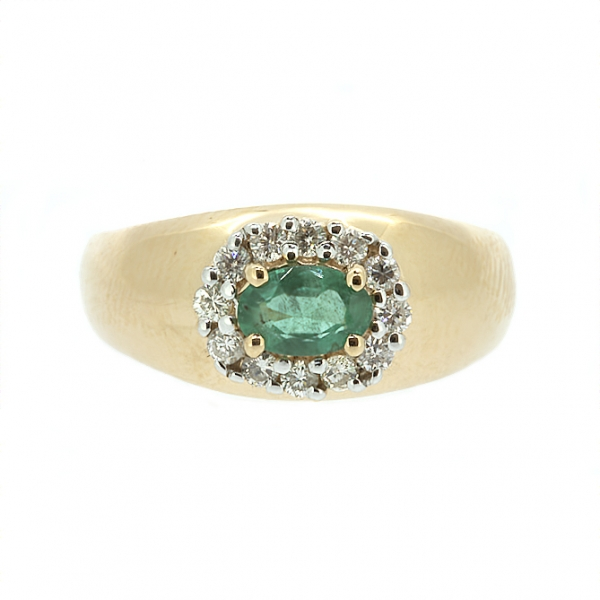 Ювелирное кольцо из красного золота 585 пробы с изумрудом и бриллиантами RE-3606