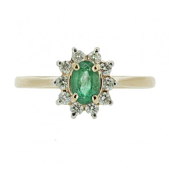 Ювелирное кольцо из красного золота 585 пробы с изумрудом и бриллиантами RE-4235