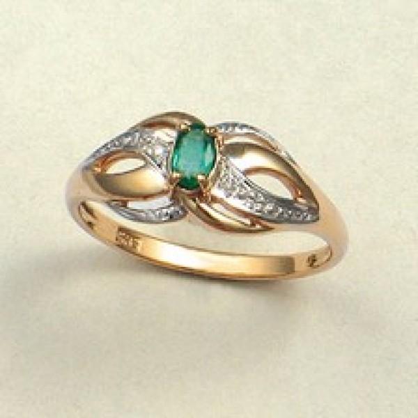 Ювелирное кольцо из красного золота 585 пробы с изумрудом и бриллиантами RE-6050