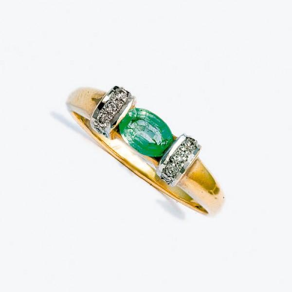 Ювелирное кольцо из красного золота 585 пробы с изумрудом и бриллиантами RE-6072