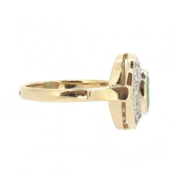 Ювелирное кольцо из красного золота 585 пробы с изумрудом и бриллиантами RE-6171