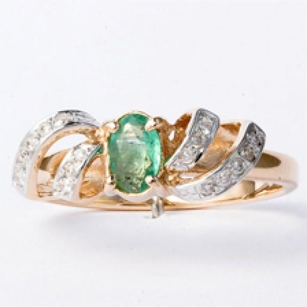 Ювелирное кольцо из красного золота 585 пробы с изумрудом и бриллиантами RE-6207