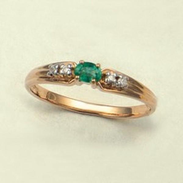 Ювелирное кольцо из красного золота 585 пробы с изумрудом и бриллиантами RE-9038