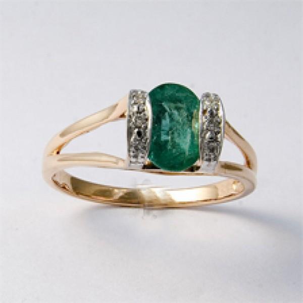 Ювелирное кольцо из красного золота 585 пробы с изумрудом и бриллиантами RE-17105