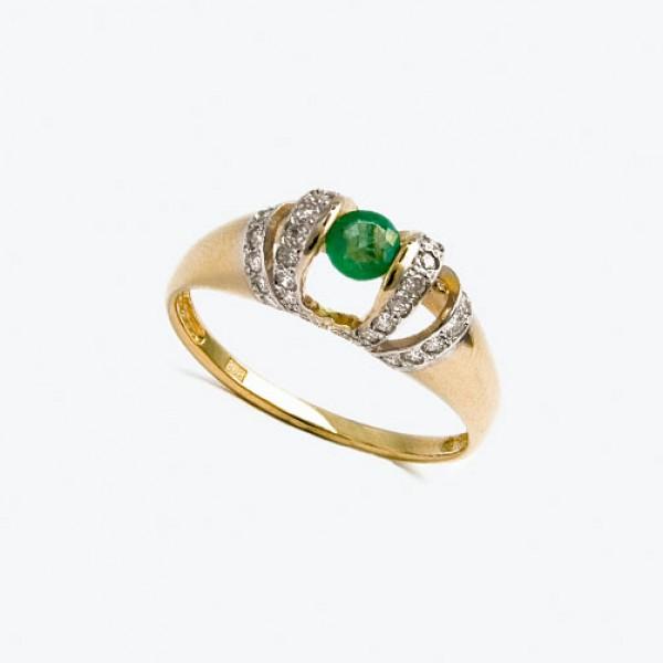 Ювелирное кольцо из красного золота 585 пробы с изумрудом и бриллиантами RE-6144
