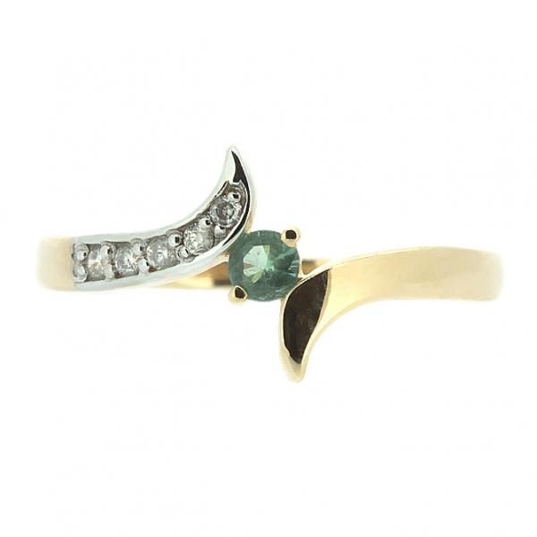 Ювелирное кольцо из красного золота 585 пробы с изумрудом и бриллиантами RE-6274