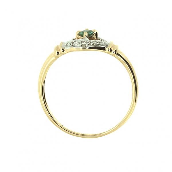 Ювелирное кольцо из красного золота 585 пробы с изумрудом и бриллиантами RE-9039