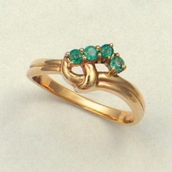 Ювелирное кольцо из красного золота 585 пробы с изумрудами RE-6013