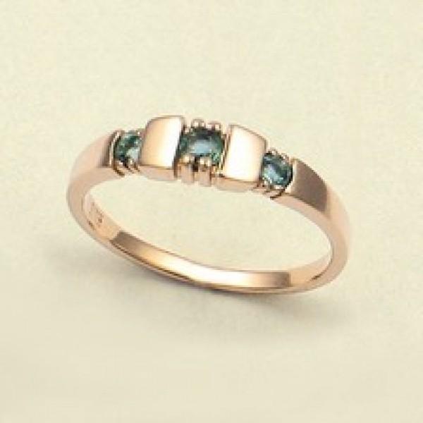 Ювелирное кольцо из красного золота 585 пробы с изумрудами RE-6024