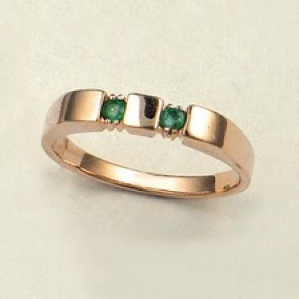 Ювелирное кольцо из красного золота 585 пробы с изумрудами RE-6025