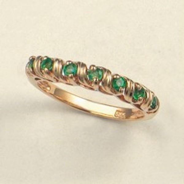 Ювелирное кольцо из красного золота 585 пробы с изумрудами RE-6108
