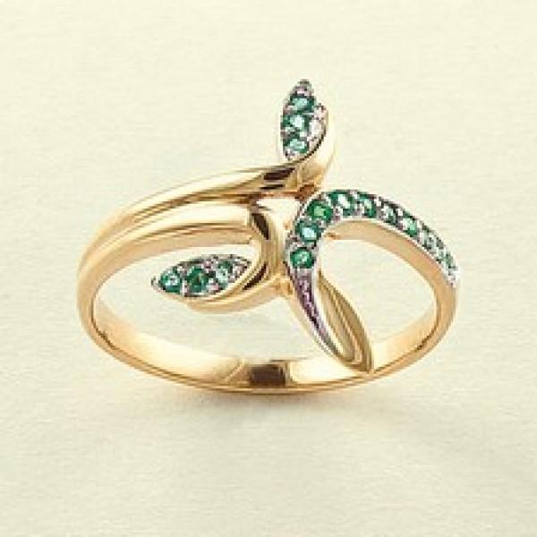 Ювелирное кольцо из красного золота 585 пробы с изумрудами RE-6545